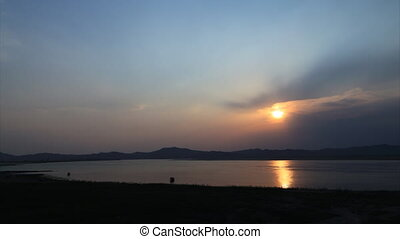 Irrawaddy river sunset timelapse