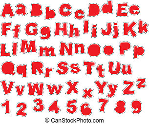 Irregular Fonts ABC with seams in red colour, isolated on white background. Illustration is in eps8 vector mode!