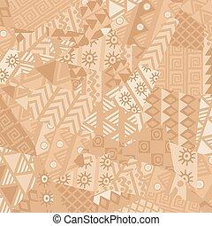 Irregular patchwork pattern with african motifs