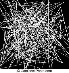 Irregular, random chaotic lines. Abstract monochrome illustration.