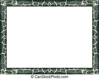 Landscape photo frame mockup with irregular stone texture borders.