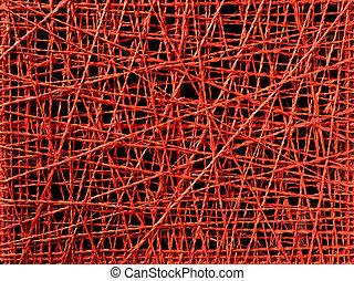 irreguljär, tråd, abstrakt, fodrar, struktur, röd