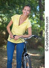 irrfahrt, fahrrad, junger, weibliche , wald