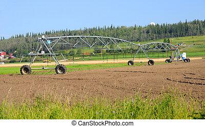 irrigación, centro, granja, sistema, alaska, pivote,...