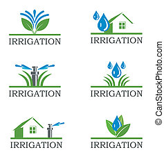 irrigación, iconos