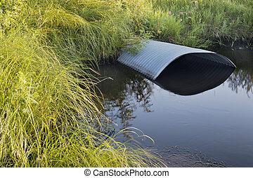 irrigación, zanja, alcantarilla
