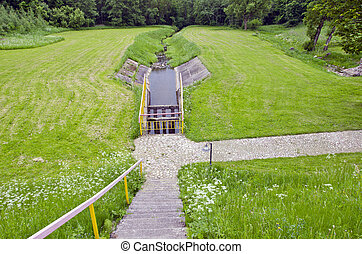 irrigation canal on farm field with water gate