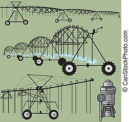 Center pivot irrigation and pump clip art