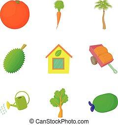 Irrigation icons set, cartoon style