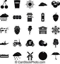 Irrigation icons set, simple style