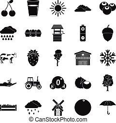 Irrigation icons set, simple style