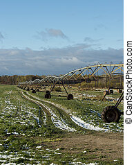 Irrigation on a hay field