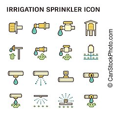 Irrigation sprinkler icon - Irrigation system and watering...