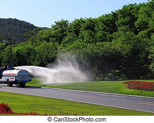 Irrigation. Suburb. Dalian, China.