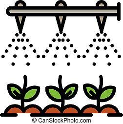 irrigation, style, technologie, contour, icône, moderne