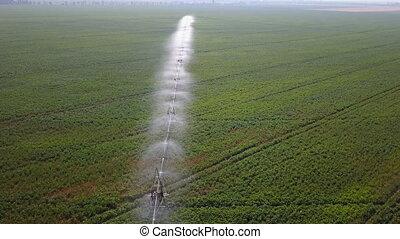 Irrigation system of fields. Aerial - Irrigation system of...