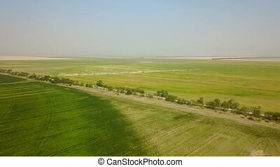 Irrigation system of fields. Aerial
