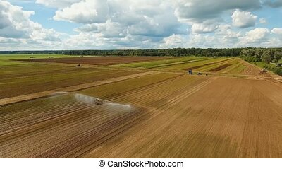 Irrigation system on agricultural land. - Aerial view of...
