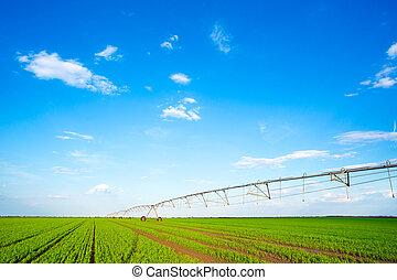 Irrigation system on wheels