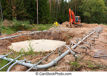 System of an irrigation round a foundation ditch with water