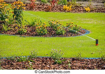 Irrigation System Watering Backyard Landscping Area.