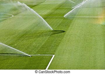 irrigation turf of Rosaleda stadium, Malaga, Spain