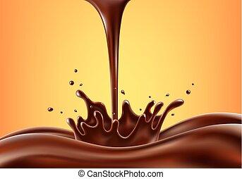 irrigation, vecteur, illustration, chocolat