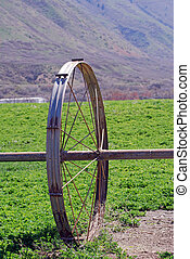 Irrigation wheel in field