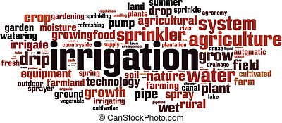 Irrigation word cloud concept. Vector illustration