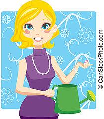 irrigazione, donna