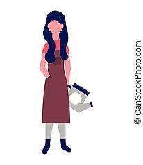 irrigazione, donna, professione, lattina, giardiniere