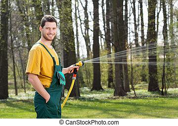 irrigazione, giardino, giardiniere