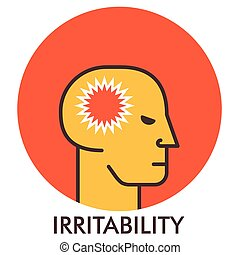 Irritability. Thorn. Line icon with flat design elements. ...