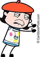 Irritated Artist cartoon illustration