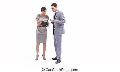 Irritated business woman holding a - Video of an irritated...