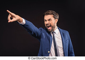 Irritated businessman expressing negative emotions