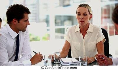 Irritated businesswoman