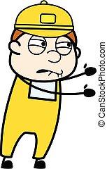 Irritated Courier Man cartoon illustration