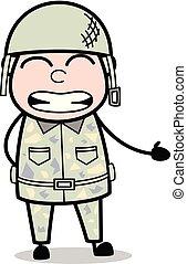 Irritated - Cute Army Man Cartoon Soldier Vector Illustration