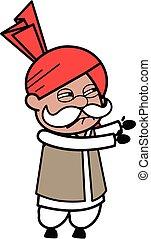 Irritated Haryanvi Old Man cartoon illustration
