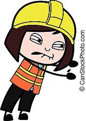 Irritated Lady Engineer cartoon illustration