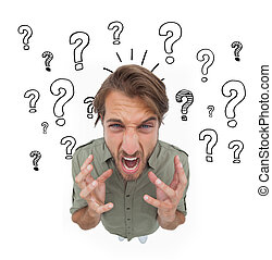 Irritated man gesturing and yelling with question marks on ...