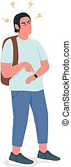 Irritated man waiting flat color vector detailed character.