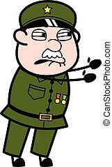 Irritated Military Man cartoon illustration