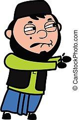Irritated Muslim Man cartoon illustration