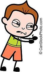 Irritated Schoolboy cartoon illustration