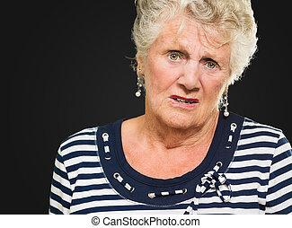 Irritated Senior Woman - Portrait Of Irrigated Senior Woman ...