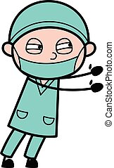 Irritated Surgeon cartoon illustration