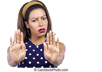 Irritated Woman in Retro Style Clothing with Stop Gesture