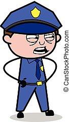 Irritating - Retro Cop Policeman Vector Illustration